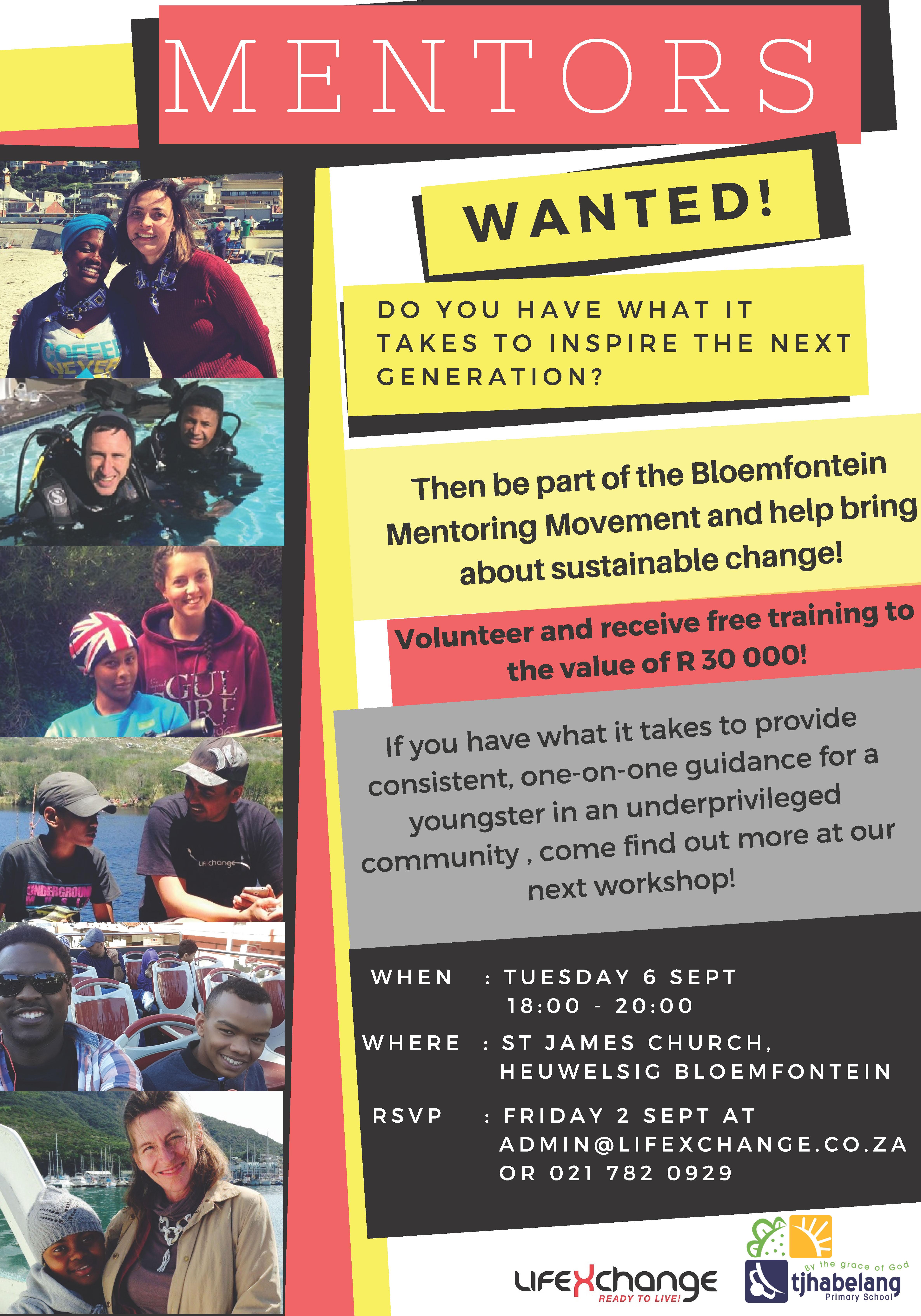 Tjhabelang mentor recruitment poster eng